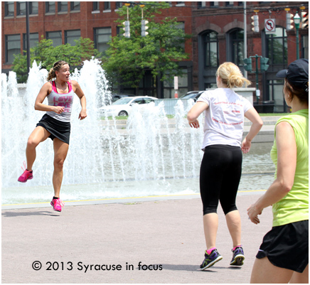 Zumba Instructor Lynn Underwood sets the pace.