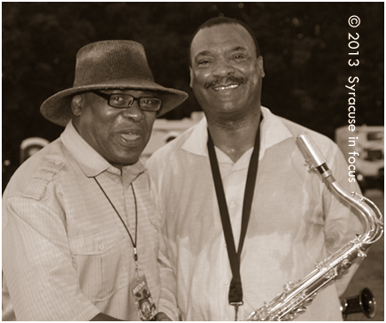 Old School Sunday Host Rick Wright (born in North Carolina) meets up with Saxophonist Ronnie Laws (born in Texas) after a set at the 2013 Syracuse Jazz Festival.
