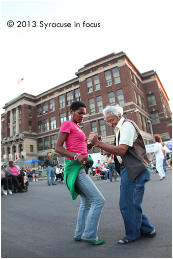 Breaking Barriers at Blodgett: A couple danced during an early set at Jazz in the City on Thursday.