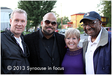 CNY Jazz Executive Directior Larry Luttinger, Will Holton, Kathy Goodnough and Common Council President Van Robinson at Jazz in the City last night (Oswego Street).