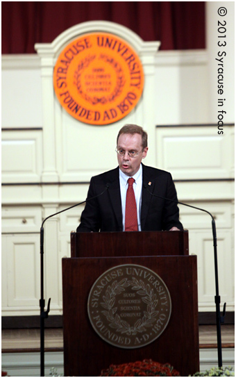 Kent D. Syverud was introduced today as the Chancellor-designate at Syracuse University. He will take over for Nancy Cantor, <a href=