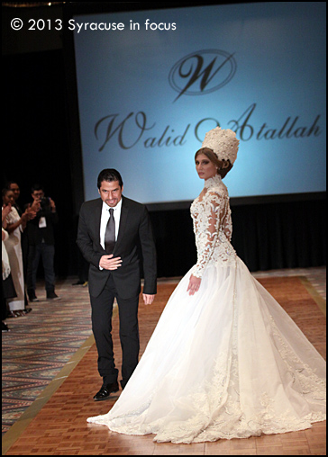 Lebanese fashion designer Walid Atallah takes a final bow during the finale of the SFW Fashion Show last night.