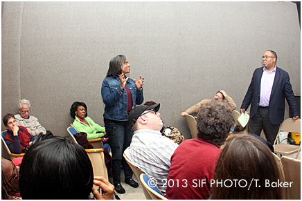 Host George Kilpatrick (right) entertains a question.