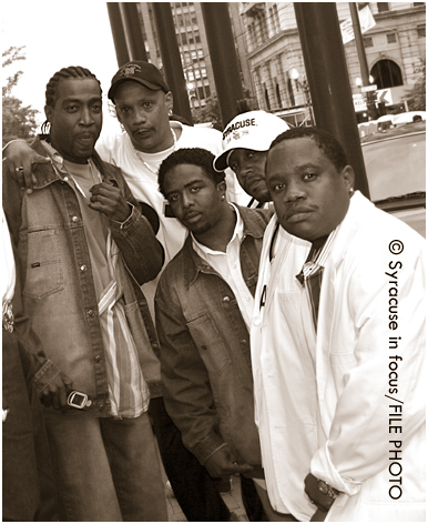 The R&B band Troop performed at the 2005 Syracuse Juneteenth Celebration. The band is pictured here with DJ Chaz, who passed away earlier this year.
