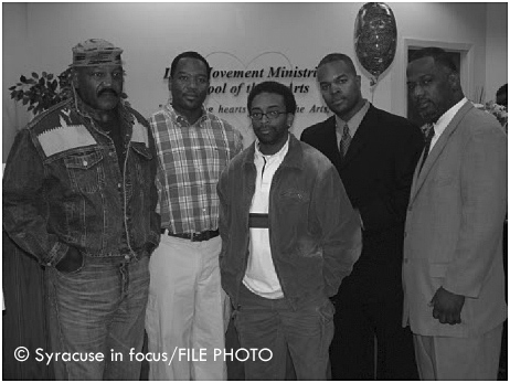 Jim Brown, Julius Edwards, Spike Lee, Rufus Morris, General Davis at the School of the heARTS (what is now Merchant's Commons Building) a decade ago.