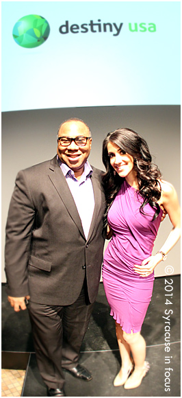 Radio personality George Kilpatrick and PR consultant Alisa Parmenter at Destiny USA's Canyon (following the fashion show)