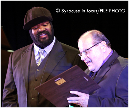 Jazz Fest Producer Frank Malfitano (right) presents an award to Gregory Porter in 2013.
