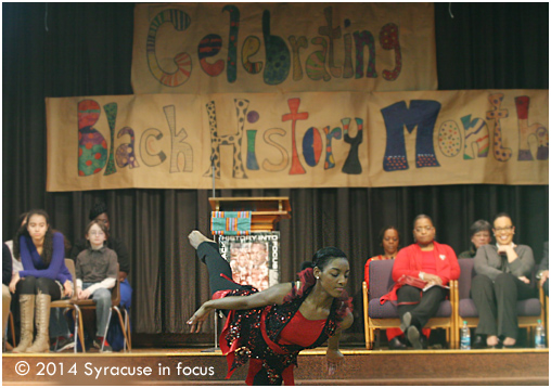 Nicole Blue danced at the Ed Smith School Black History Month Program this morning.