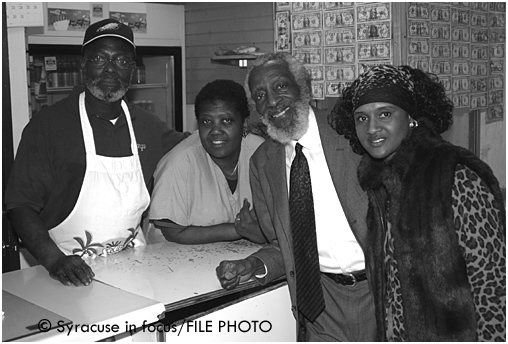 Bongo and Judy Hanslip with Comedian Dick Gregory and Della Branch Bullock at Jerk Hut (circa 2005)
