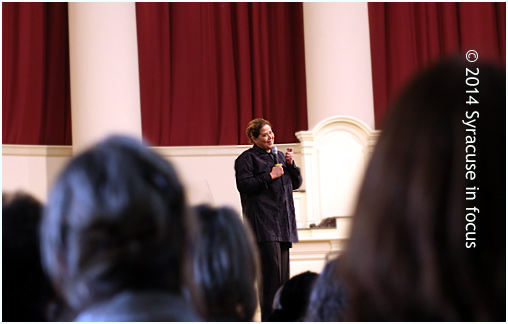 Actress, playwright, artist Anna Deavere Smith on stage at Hendricks Chapel.