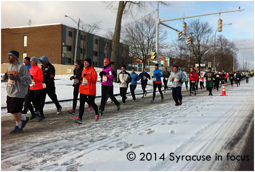 The Syracuse Half Marathon continued yesterday, despite a return to winter weather conditions.