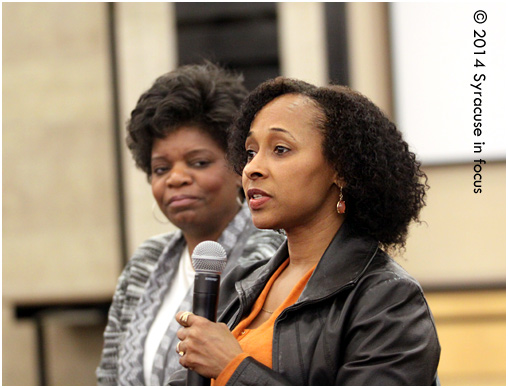 Dance Instructor Carol Charles (left) and Dancer/Engineer Yolanda Mitchell participate in the panel discussion. Hear their comments in the sound clip below.