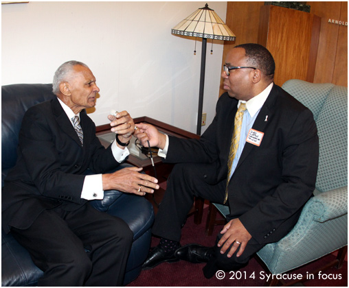 Civil Rights pioneer Rev. C.T. Vivian dialouged with George Kilpatrick at the SU School of Law on Friday afternoon.