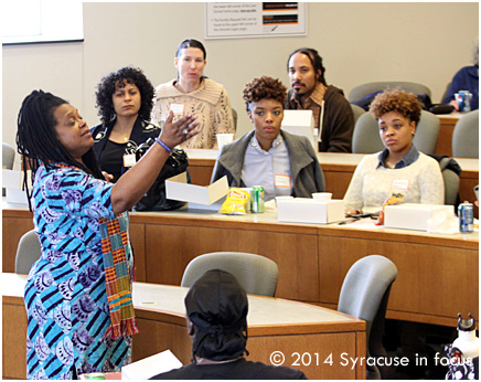 Griot Vanessa Johnson talked about activist Ella Baker during a lunch break for the Cold Case Justice Initiative Civil Rights Conference on Friday.