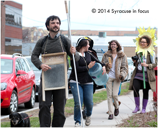 Activist Frank Cetera led a group of a dozen or so activists on a march along the Connective Corridor (from Forman Park to Armory Square) to celebrate Earth Day this evening. The event was called the Procession of the Species Celebration and included costumes, music and speeches.