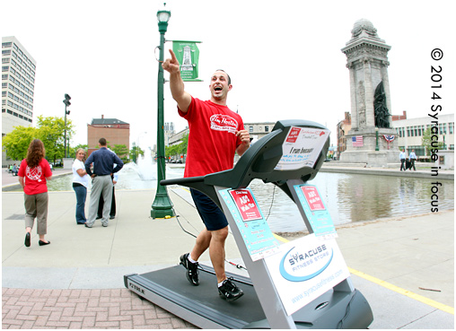 Run Jeff Run: Syracuse Tim Horton's franchise owner Jeff Cercone takes his turn for the tag team Treadmill tour during today's Lunchtime Give Mob, which was sponsored by ACR Health and Believe in Syracuse.
