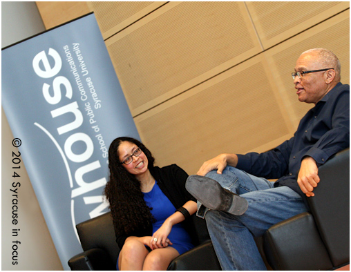 Your Turn: It has been reported that comedy writing veteran Larry Wilmore will replace Stephen Colbert on Comedy Central (when he takes over the Late Show). Wilmore is pictured here with Professor Charisse L'Pree at The Newhouse School of Public Communications earlier this year.