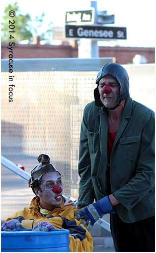 Splendito (played by Freddy) and Mr. Sticks (played by Steve) occupied an open air stage on Syracuse Stage's patio for about an hour on Thursday.