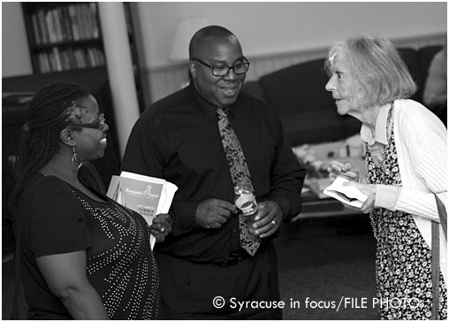 Gloria and George Kilpatrick talk with Karen DeCrow at the Skaneates Festival a few years ago.
