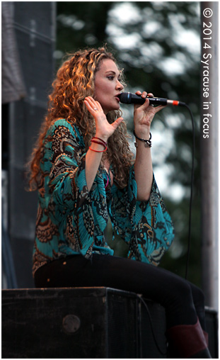 """Dana Fuchs toned it down and gave some back story for her song """"Living on Sunday"""" at the NYS Blues Festival on Saturday."""