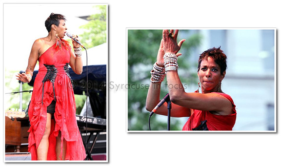Shakura S' Aida commanded the stage for Day 2 of the NYS Blues Festival on Saturday.