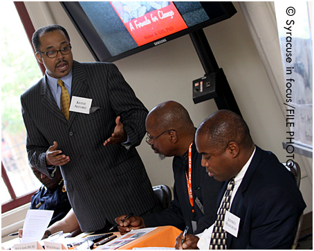 Dr. Keith Alford leads a discussion during CBT X (pictured with Ali Alif Muhammad and Jeffrey Mangram).