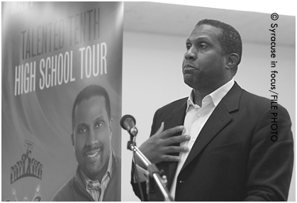 Media personality Tavis Smiley spoke at Corcoran High School in 2008.