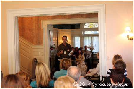 Columnist Sean Kirst moderated the discussion for the Social Media Breakfast 19 at the Historic Barnes Hiscock Mansion (James Street).