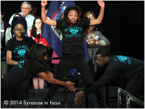 Members of Black Reign, a non-Greek affiliated step team, performed a number during a rally for Congressman Dan Maffei this afternoon.