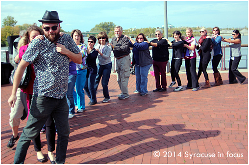 NoExcuses Michael Heagerty led a Conga Line by the creek on Monday afternoon.