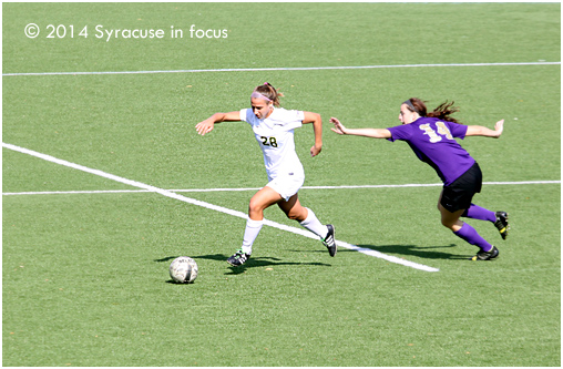 Jessica Marini alludes a defender during Lemoyne College's third straight home win on Saturday. They defeated St. Michaels 2-0.