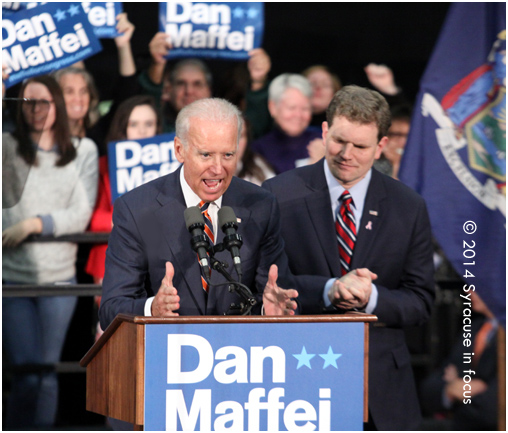 Vice President Joe Biden stresses restoring the middle class during a campaign visit for Dan Maffei. Biden has made several visits to Central New York in the past 6 months. Maffei brought former President Bill Clinton to stump for him during his last campaign a few years ago.