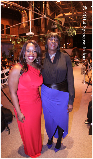 News Anchor Jennifer Sanders and Helen Hudson at the Syracuse Fashion Weekend show at the MOST on Saturday night.