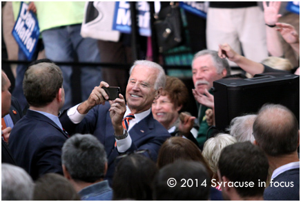 After giving a concise and confident speech on restoring the middle class, Vice President showed off his photo skills among the crowd at a Dan Maffei rally early this week.