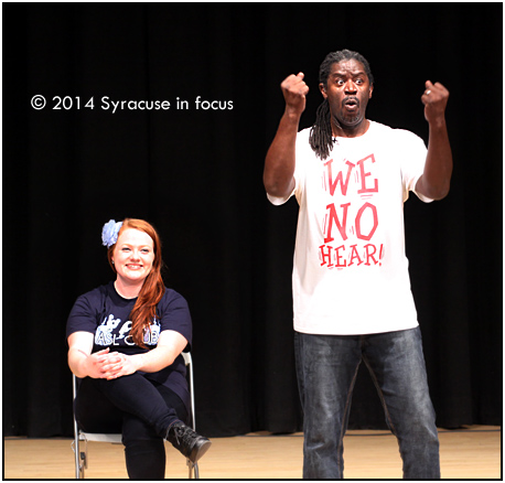 Wawa was joined on stage by OCC student and ASL club member Chelsea (left) during his performance.