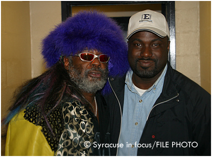 "Music elder and P-Funk progenitor and Mothership pilot George Clinton is making rounds these days promoting his new book, ""Brothas Be, Yo Like George, Ain't That Funkin' Kinda Hard on You ?"" He is pictured here at the Carrier Dome after an interview with Soul of Syracuse's Jerome Espree (about a decade ago)."
