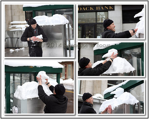 Street artist making a crow sculpture out of available snow at CENTRO stop (Washington Street).