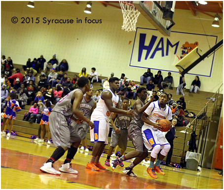 Jevon Jones makes his way to the hoop during a 3rd quarter rally yesterday.