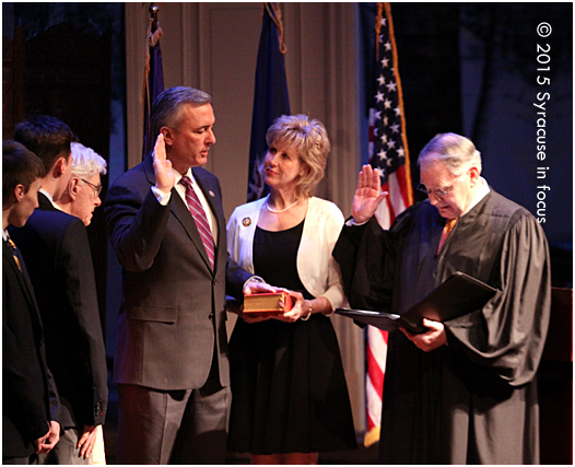 Rep. John Katko (R) held a local swearing-in ceremony at Syracuse Stage yesterday.  He decided to have a local ceremony because his parents were unable to make the trip to Washington earlier this month, viagra according to his spokesman.  Judge Norman Mordue administered the oath.  Rep. Katko's choice of venue shows the increasing influence for the Corridor area, which unites the crossroads of I81, Downtown and the Ed/Med complex. His committee assignments are Homeland Security and Transportation Infrastructure.