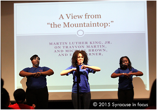 Le Moyne College steppers opened the 2015 Martin Luther King, Jr. Convocation last night. The featured speaker was Rev. Bryan N. Massingale
