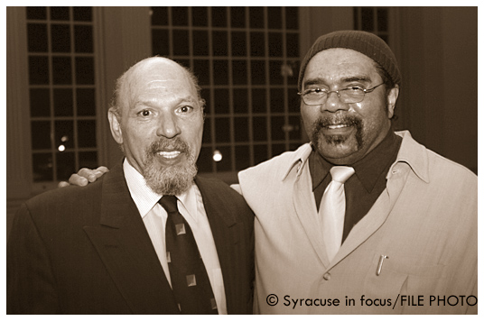 August Wilson (left) with Bill Roland during Wilson's visit to Syracuse University in 2003.