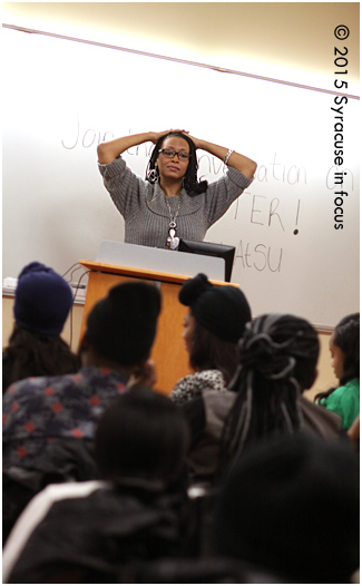 Writer/lecturer Feminista Jones speaks during Delta Week at Syracuse University.