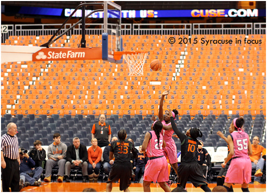 SU sophmore guard Alexis Peterson drives in for a layup in the first half.