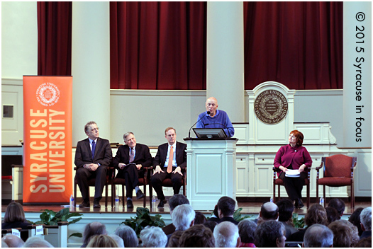 Former Astronaut F. Story Musgrave gave the keynote address for the dedication  of the Patricia Myers Druger Astronomy Learning Center (Holden Observatory) on Saturday. The speech was at Hendricks Chapel. Musgrave is joined on stage by  (right to left) A. Alan Middleton, Marvin Druger, Kent Syverud and Karin Ruhlandt.