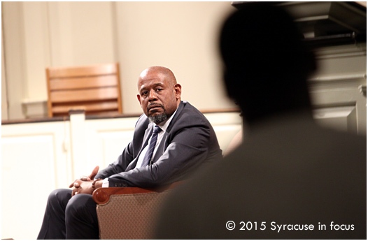 Actor, humanist, Forest Whitaker visited Syracuse University on Wednesday.