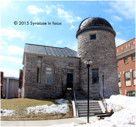 Dome before The Dome: Holden Observatory is home to the newly dedicated Patricia Myers Druger Astronomy Center at Syracuse University. The Holden Observatory was the second building constructed on campus (1887). It was placed on the National Register of Historic Places in 1980.
