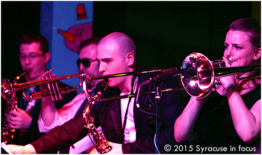 The horn section for the show, featuring trombonist Melissa Gardiner (right) was tight.