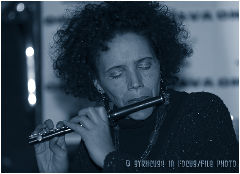 Flautist Nicole Mitchell will return to Syracuse to headline a concert at the Community Folk Art Gallery next month. She is pictured here about a decade ago at OnaJava.