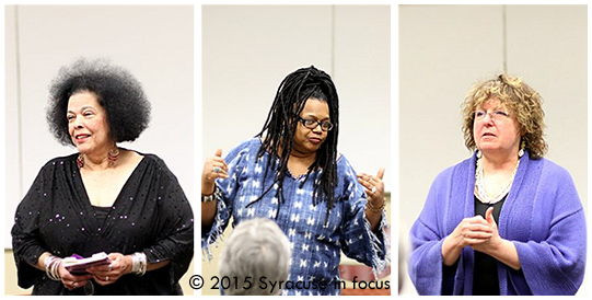 Warren-Moore, Johnson and Popoff shared their work at the Atrium at Clinton Square on Thursday.