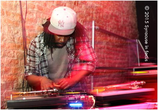 DJ Afar spinning at Funk & Waffles (Downtown).
